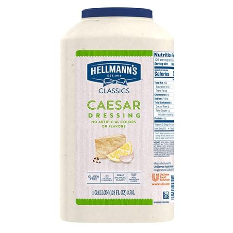 Hellmann's® Classiques Vinaigrette Caesar 2 x 3,78 L - Hellmann's® Classiques Vinaigrette Caesar: Agrémentez vos meilleures salades de vinaigrettes qui ont l'aspect, le goût et l'effet d'une vinaigrette maison.