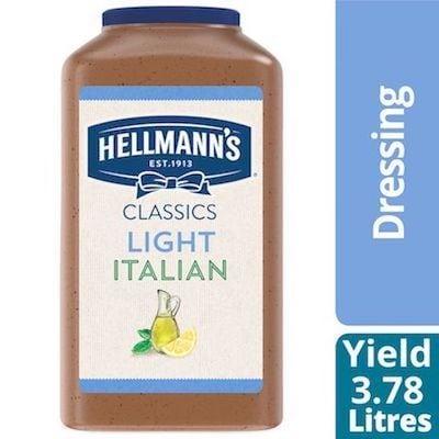 Hellmann's® Classiques Vinaigrette Italienne Légère 2 x 3.78 L - Hellmann's® Light Italian Salad Dressing: Agrémentez vos meilleures salades de vinaigrettes qui ont l'aspect, le goût et l'effet d'une vinaigrette maison.