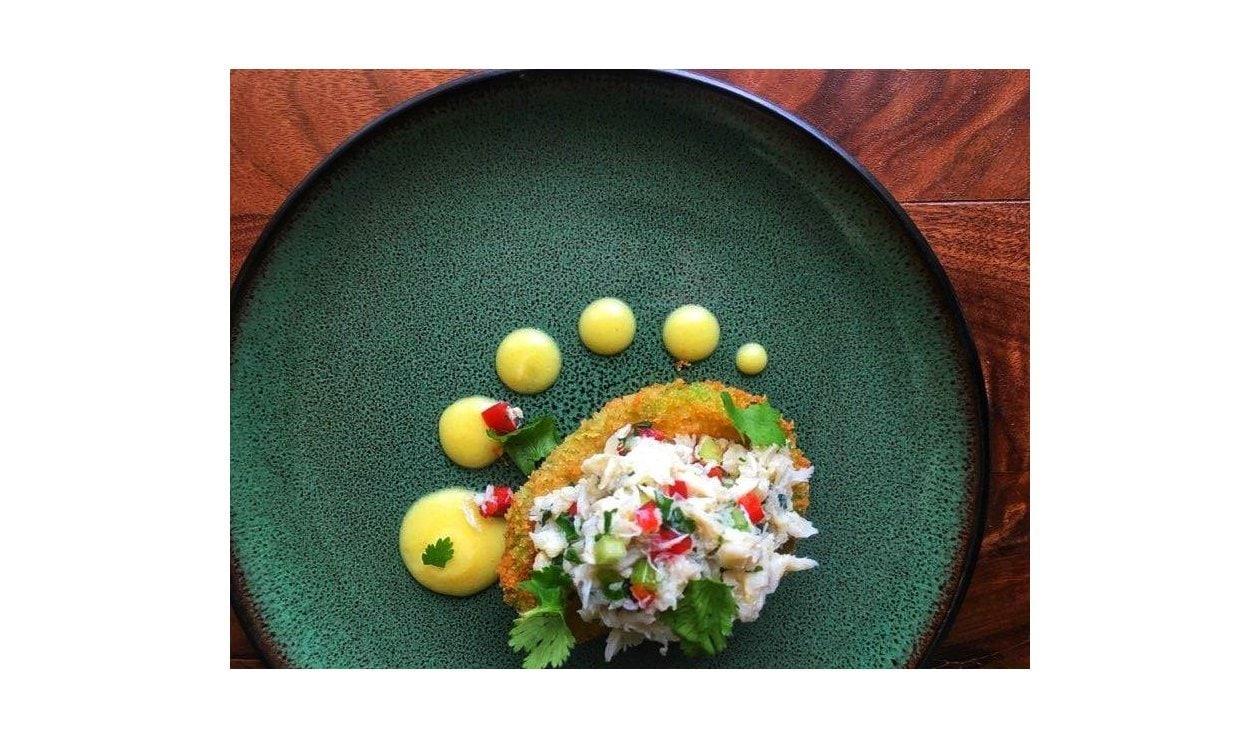 Crispy Avocado and Crab Salad and Hollandaise – recipe