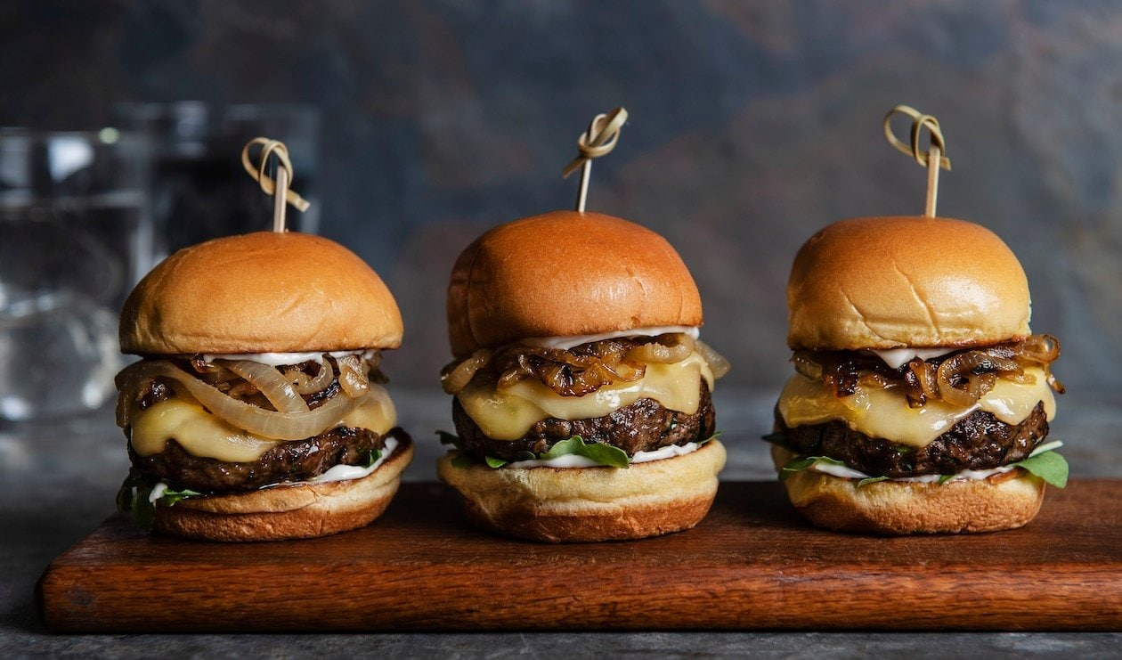 Turkey Burger Sliders with Gouda and Sautéed Onions – recipe