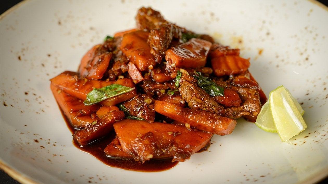 Kabocha and Beef stir fried with Thai Basil – recipe