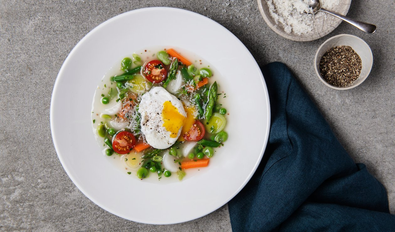 "Spring Vegetable and Egg ""Cassoulet"" – recipe"