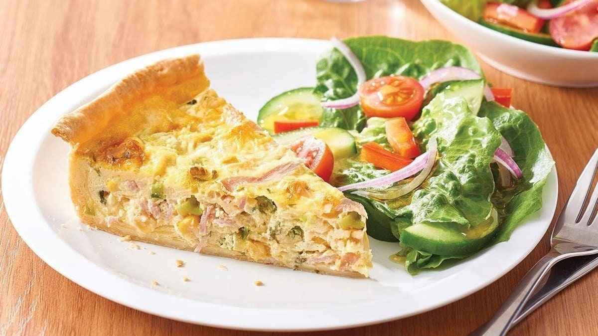 Spring Ham, Asparagus and Shiitake Quiche with Tomato and Green Onion Hollandaise – recipe